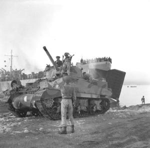 A Sherman tank, during the invasion of Sicily