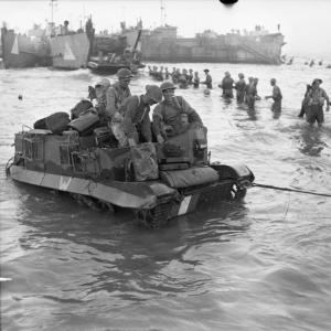 British troops head for the beach, on the first day  of the invasion of Sicily