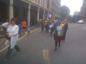 Our journey through the streets of Pretoria trying to get to the Union Buildings to view Nelson Mandela Laying in State